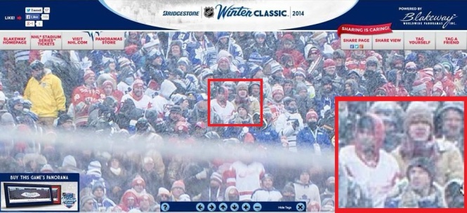 Tom and I were captured on the official HD Panorama. Don't we look excited to be out in the cold!