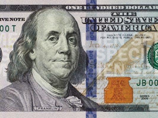 Benjamin Franklin, as depicted on the $100 bill