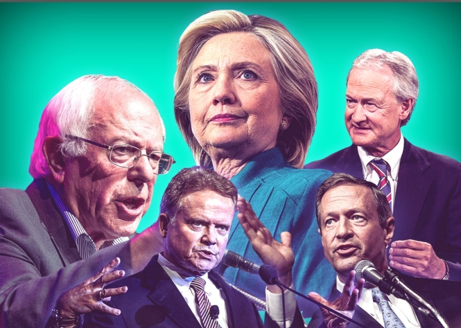 Democratic Presidential candidates Hillary Clinton, Bernie Sanders, Jim Webb, Lincoln Chafee, and Martin O'Malley.