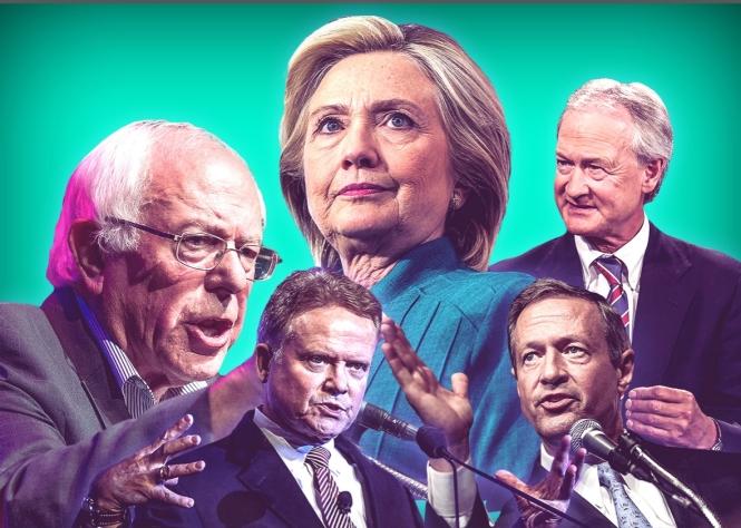 Democratic Presidential candidates Hillary Clinton, Bernie Sanders, Jim Webb, Lincoln Chafee, and Martin O'Malley.